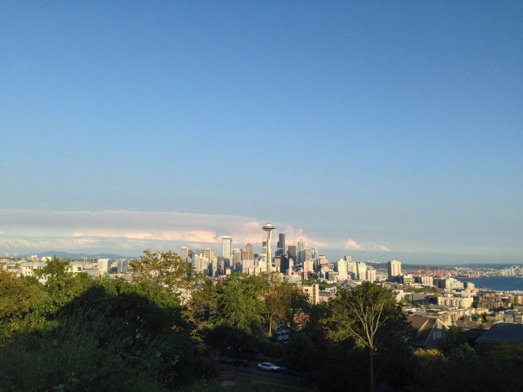 Seattle with Mt Rainier hovering in the distance.