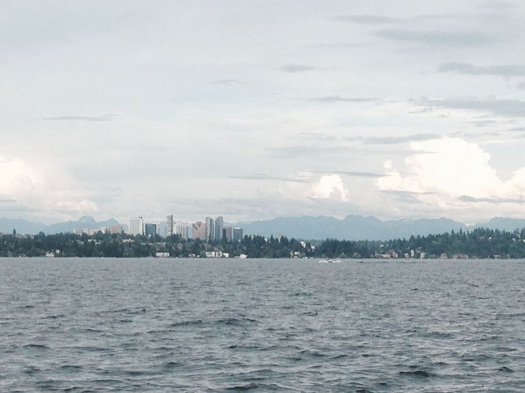 Lake Washington, Bellevue, and the Cascades way far in the background.