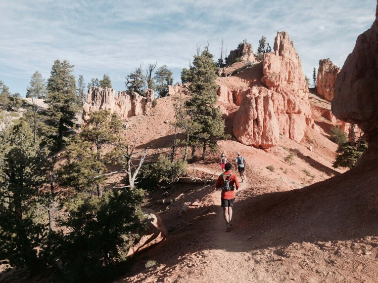 That's me in the orange long sleeve shirt passing our first glimpses of the alien hoodoos.