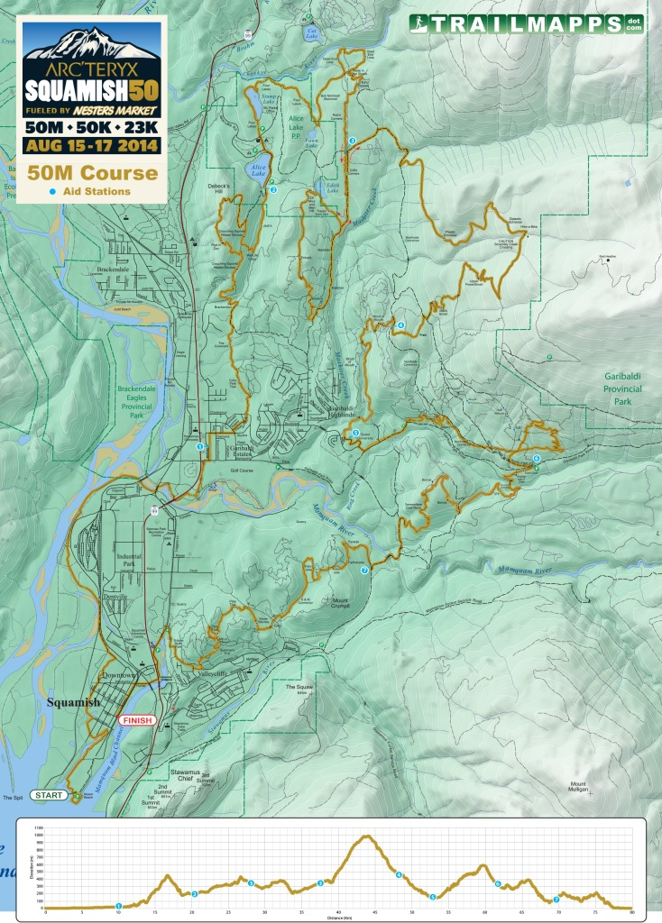 Squamish 50 map and profile.