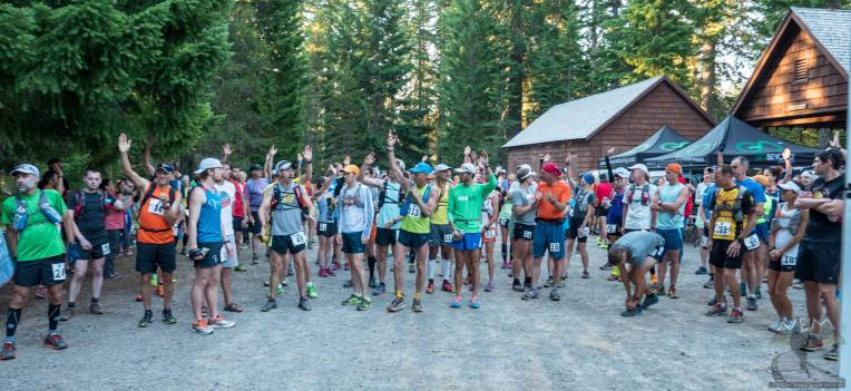 """Anyone attempting their first 50 miler raise their hands."" You can't see me because I'm in the very back."