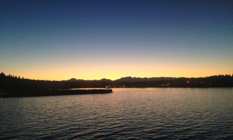 Leaving Bainbridge Island ferry terminal.