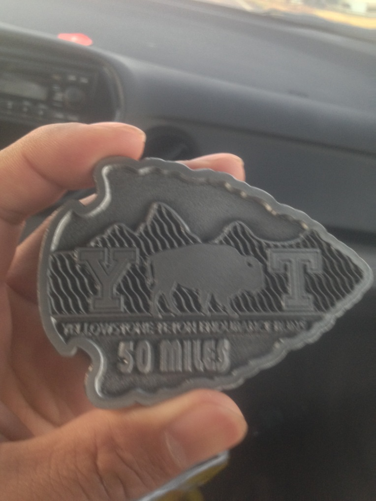 The 50 mile finisher's buckle. Now just need to find a belt to put it on.