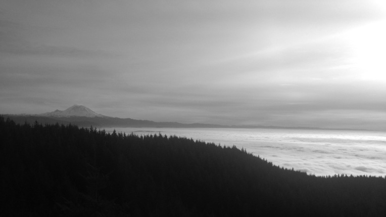 Mt Rainier peaking through the clouds.