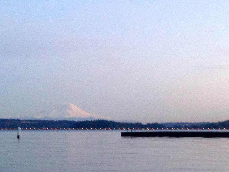 Mount Rainier from the Seattle side of Lake Washington.