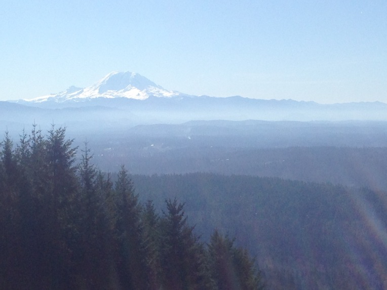 Mount Rainier from south launch Poo Poo Point on Tiger Mountain.