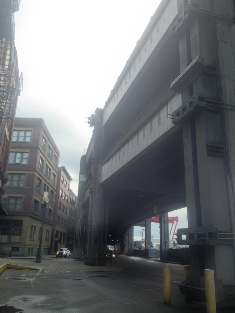Alaskan Way (I-99) Viaduct seismic retrofit. Structural steel is literally strapped and bolted to the existing concrete columns to avoid a Bay Bridge collapse if (when) an earthquake happens. The bridge is coming down once (whenever) the colossal tunnel is completed.