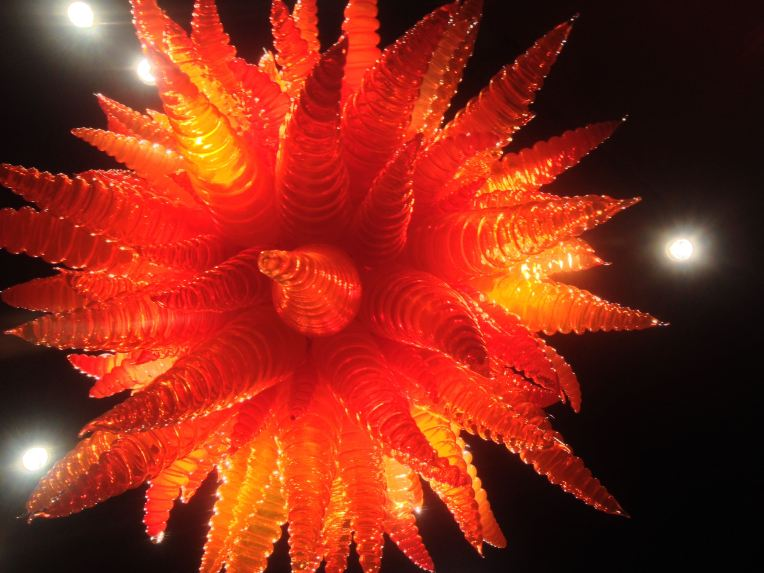 There's no sense of scale, but I'm looking up at this Dale Chihuly 8 foot diameter chandelier.