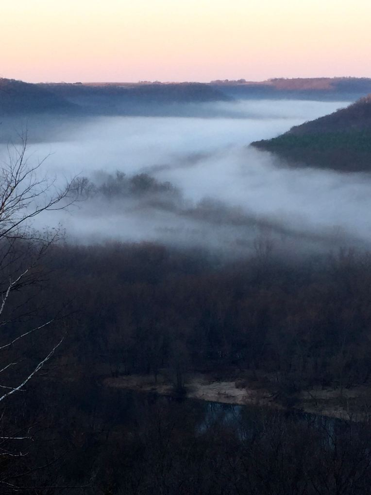 Morning fog on the Zumbro River, Minnesota.