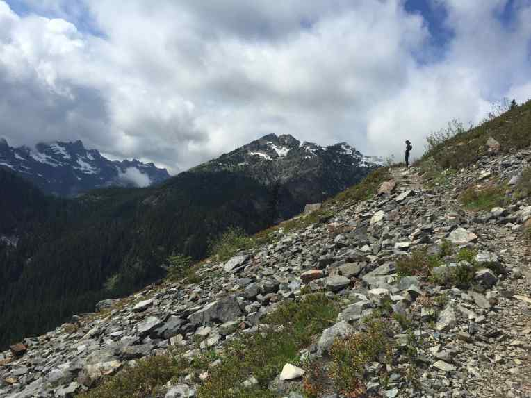 Checking out the view on the scree field on Kendall Katwalk.