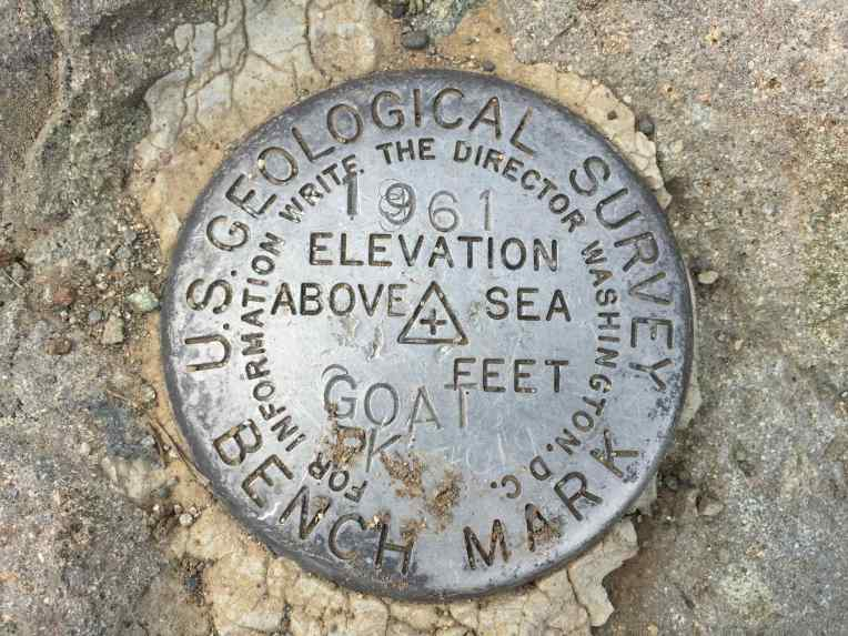 Goat Peak USGS Survey Bench Mark.
