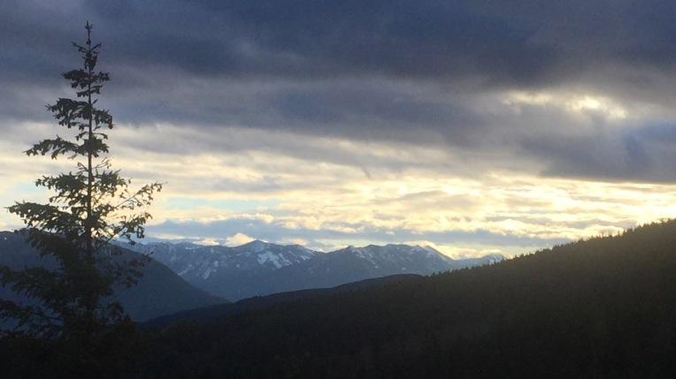 Snow capped Cascade Mountains