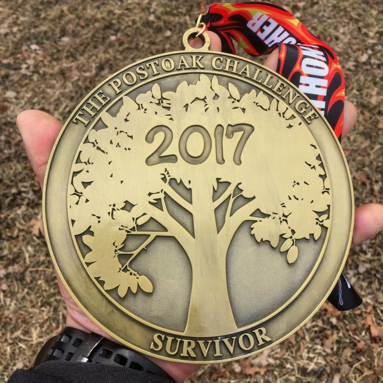 PostOak Lodge CHallenege trail marathon finisher's medal